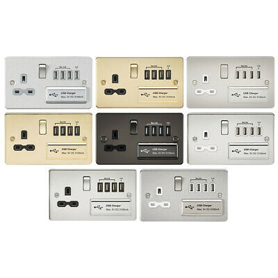 Knightsbridge Flat Plate 13A Switched Socket with Quad 4x USB Charger 5V DC 5.1A