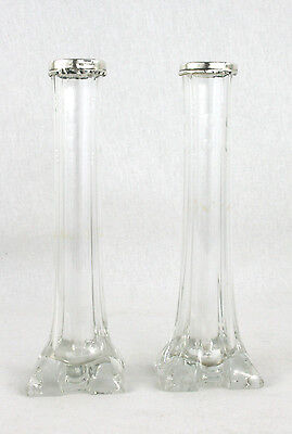 Antique Edwardian Sterling Silver Mounted Pair Cut Glass Vases Chester 1907