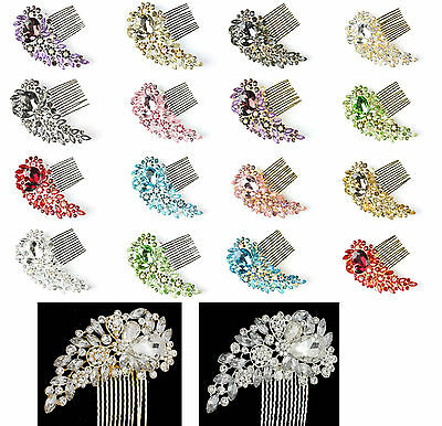 8 Colours TOP Bridal Bridesmaid Wedding Hair Comb Clip Rhinestone Diamante Prom
