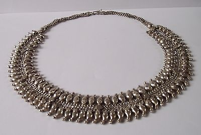 Indian Silver Tone Necklace Statement Asian Ethnic White Metal Jewellery