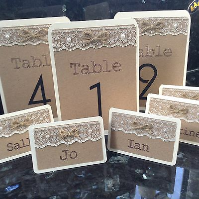Rustic Vintage Wedding Single-sided Table Names/Numbers With Lace And Pearls