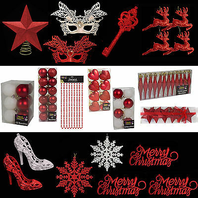 Red & White Glitter/Plain Christmas Tree Decorations Baubles Stars Cones & More
