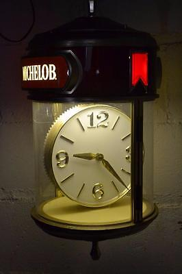 Vtg MICHELOB BEER Light MOTION SIGN Man Cave ROTATING Lighted CLOCK Swag Lamp