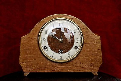 Vintage Art Deco Oak 'Bentima Perivale' Mantel Clock with Westminster Chimes