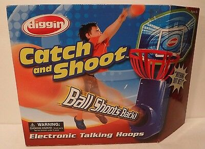 Diggin Catch & Shoot Basketball Mini Hoop Electronic Returner Elec Talking Hoops