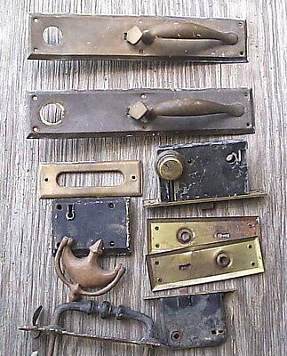 Large 10 Piece Lot of Vintage Brass and Iron Door Hardware