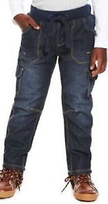 Boys jeans denim warm lined ribbed waist M S Baby 12 18 24 months 2 3 years