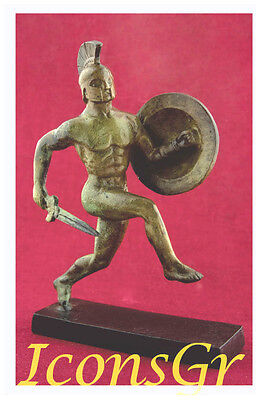 Ancient Bronze Museum Replica Of Greek Hoplite With A Sword Battle Of Marathon