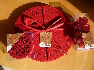 Vintage style christmas placemats coasters napkin rings set of 4 red felt table