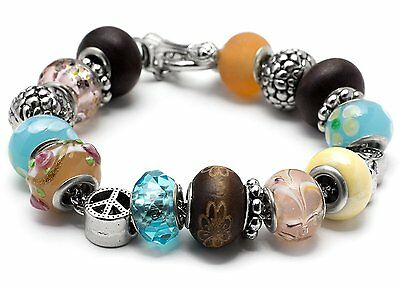 Cousin STEVIE Large Hole Bracelet Kit--19 Pieces-with Bicycle Charm Spacer Beads
