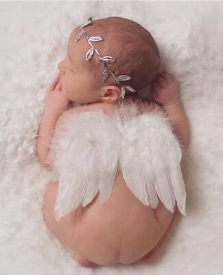Girl Boy Newborn Baby White Angel Wings Leaf Headband Photo Photography SET
