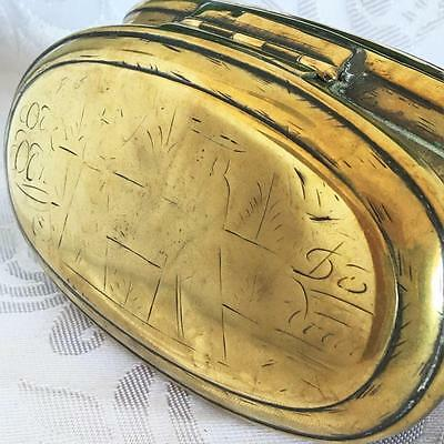 Antique Large Dutch Brass Hand Engraved 1743 - 18th Century Tobacco Box 151grams