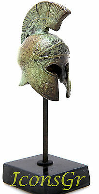 Ancient Greek Bronze Miniature Helmet On Stand Bronze Oxidization 1386-1