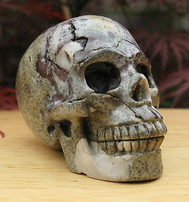 STUNNING NATURAL HAND CARVED CHINESE PAINTING STONE CRYSTAL SKULL 95g