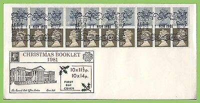 G.B. 1981 Christmas booklet pane on Historic Relics First Day Cover, Windsor