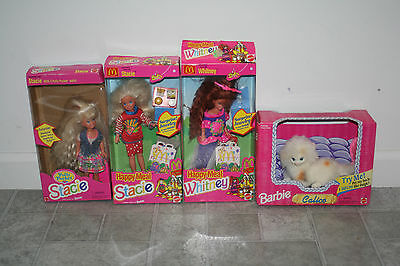 Vintage 90's Barbie Lot Happy Meal Stacie and Whitney Polly Pocket & Calico Cat