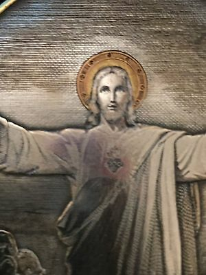 Silver Icon Engraving of Jesus Christ, The Sacred Heart by H Wicker