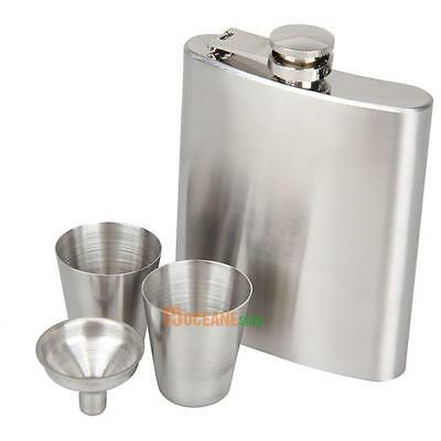 Portable Stainless Steel 7oz Hip Flask Flagon Whiskey Wine Pot Bottle +Cup Gift