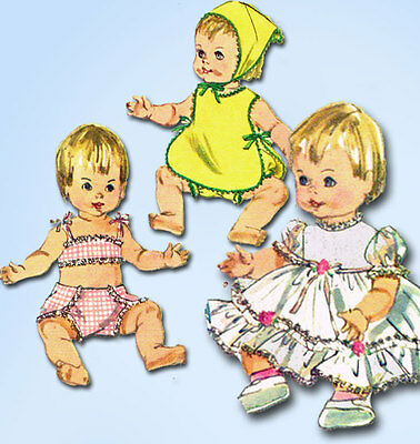 1960s Vintage Simplicity Sewing Pattern 6817 Ginny Baby 14 Inch Doll Clothes