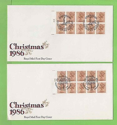 G.B. 1986 £1.30 booklet panes on 2 Royal Mail First Day Covers different cancels