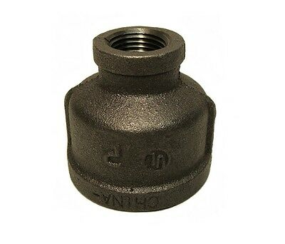"""1 1/4"""" X 1/2"""" Black Malleable Iron Pipe Threaded Reducer Coupling Fitting P6706"""