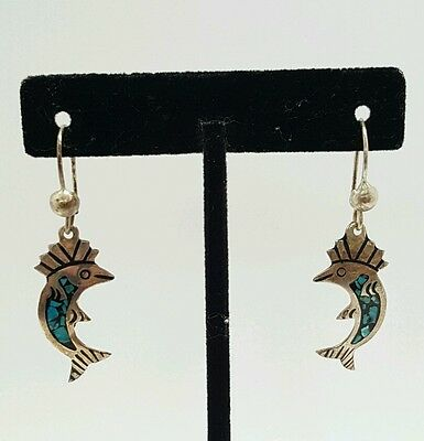 Vintage .925 Sterling Silver Mexico Fish Turquoise Pierced Earrings
