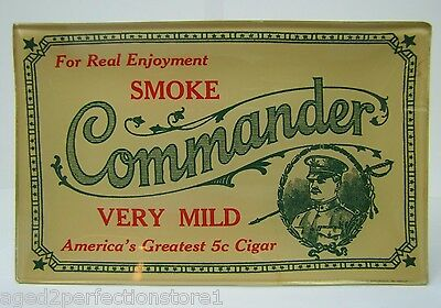 "Vtg COMMANDER CIGAR Advertising Tip Coin Card Glass Tray ""America's Greatest 5c"""