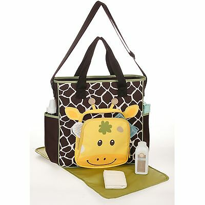 New Giraffe Tote Diaper Bag Neutral W/ Pacifier Holder Changing Pad Baby Infant