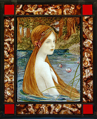 Victorian stained glass, Nymph, kilnfired stained glass, classic stained glass