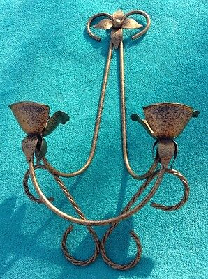 Vintage Wall Candle Sconce Metal Fixture Flower 2 Candle Holder