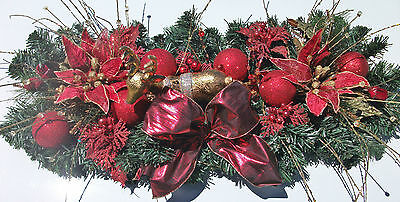 Large Christmas Table Centrepiece Reindeer with Red Ponsettia & Spruce Xmas 70cm