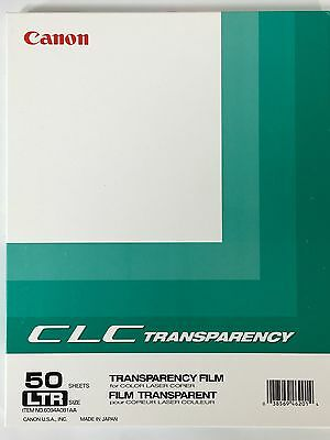 Transparency Film For Color Laser Copiers 50 Sheets LTR Canon 6094A081AA New