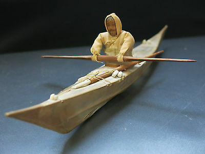 Classic Greenland Skin-on-Frame Ethnographic Collectable Kayak with Eskimo Doll