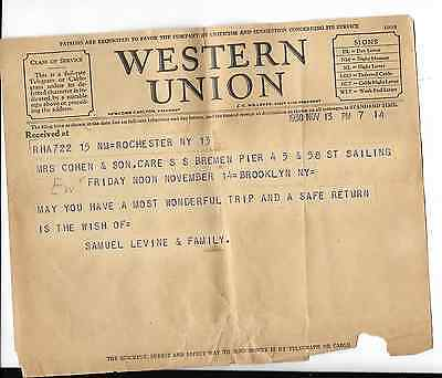 western union telegram from 1930 in care of s.s. bremen pier 45