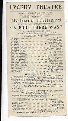 lyceum theatre playbill,pamphlet robert hilliard,a fool there was 1910