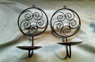 Ornate Wrought Iron Wall Hanging Pillar Candle Sconces Holders Pair Black