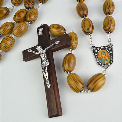Big Oval Wooden Beads Wall Rosary With Wooden Cross & Holy Mother & Child Pictur