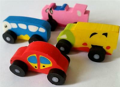 Bulk Lot x 24 Mixed Vehicles Rubber Erasers Kids Party Favors Novelty Stationery