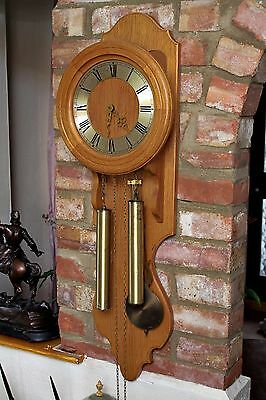 Vintage Large German 'FHS' Oak Wall Clock with Chimes