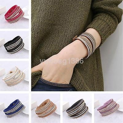 Stylish Leather Wrap Wristband Cuff Punk Crystal Rhinestone Bracelet Bangle US