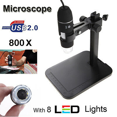 2MP 800X 8 LED USB Digital Microscope Endoscope Magnifier Zoom Camera+Lift Stand