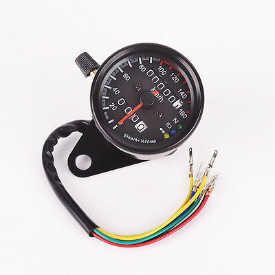 Universal Motorcycle Dual Odometer Speedometer Gauge LED Background Signal Light
