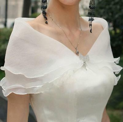 White Womens Organza Crystal Bow Wedding Bridal Prom Wrap Shrug Shawl Bolero
