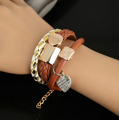 Cute Women's Leather Infinity Charm Cuff Bangle Wrap Bracelet Jewelry Gift Hot