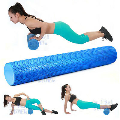 90CM Pilates Foam Roller Long Physio Yoga Fitness GYM Exercise Training Blue