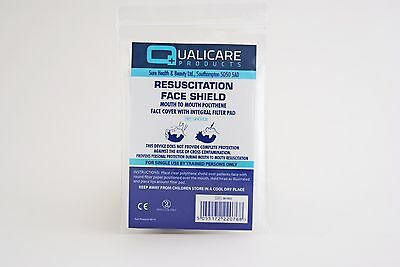 Qualicare Resuscitation Face Shield Mouth To Mouth Polythene Cover Filter Pad