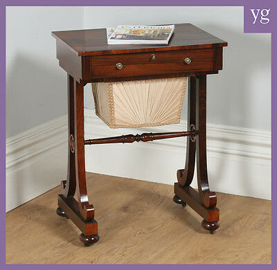 Antique Regency Rosewood Ladies Sewing Writing Work / Side Table (Circa 1820)