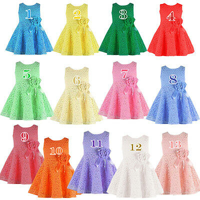 Hot Sale Kids Baby Girls Skirt Clothes Gorgeous Lace Flower Princess Party Dress