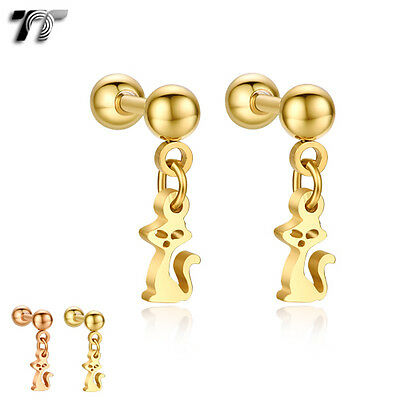 TT 4//5mm Ball Surgical Steel Round Fake Ear Cartilage Tragus Earrings TR10