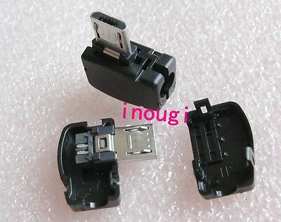 3 sets DIY Micro USB 5 Pin Male 90° Right Angle Plug Socket with+Plastic cover